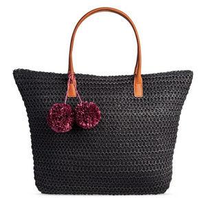 NEW Merona Black Pom Pom StrawTote/Bag Zip Closure